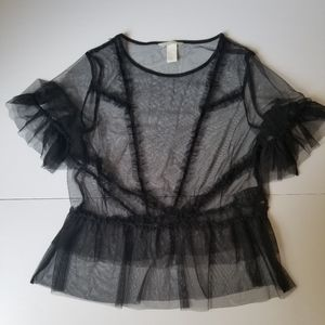 H&M sheer black short sleeve top
